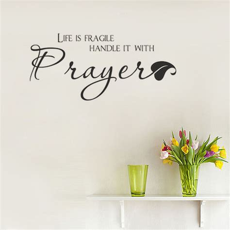 christian wall stickers is fragile handle it with prayer wall decal quote