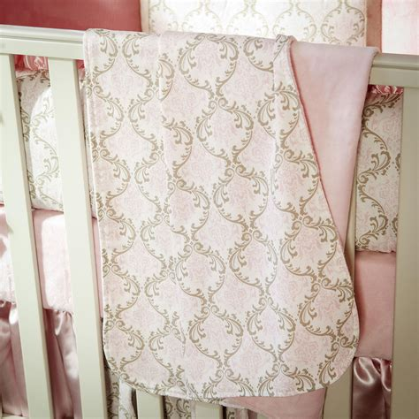 pink and taupe damask crib blanket carousel designs