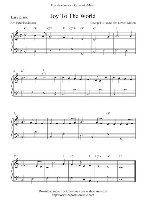 printable sheet music joy to the world easy free christmas piano sheet music notes joy to the world