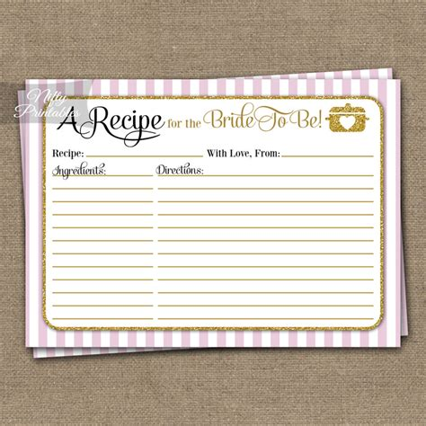 recipe for bridal shower printable bridal shower recipe cards pink gold