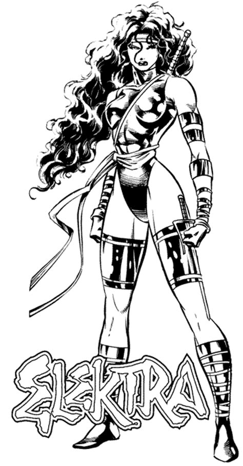 marvel elektra coloring pages colour elektra hubba hubba