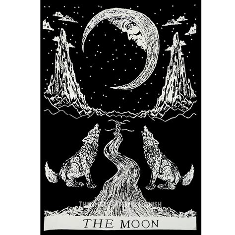 black white wolfs growling moon tarot tapestry