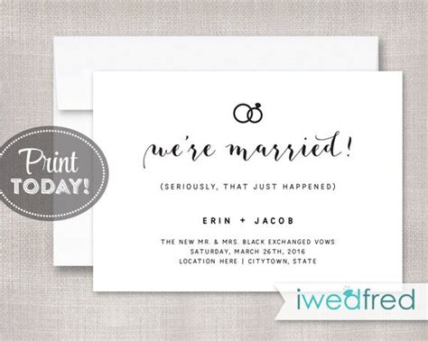 just married card template just married announcement elopement announcement marriage