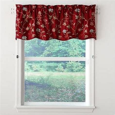 Scalloped Valances For Windows Decor Rich Burgundy Tailored Floral Vines Scalloped Window Valance 54 Quot X 17 Quot New Ebay