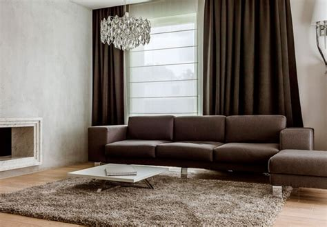 dark brown curtains living room contemporary apartment interior blends functionality and