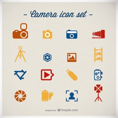 flat layout photography photography icons set flat design vector free download