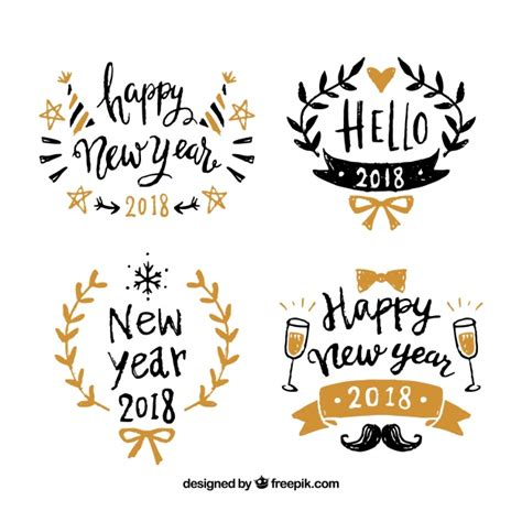new year 2018 free vector happy new year 2018 badges vector free