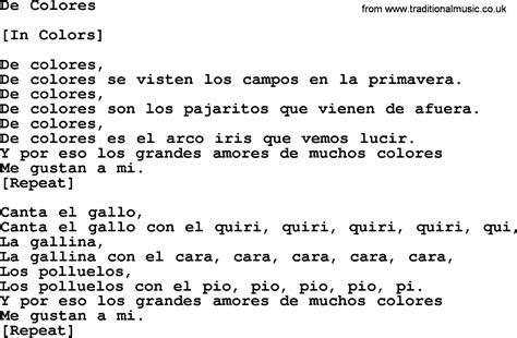 de colores lyrics de colores chords mexican folk song quot de colores quot