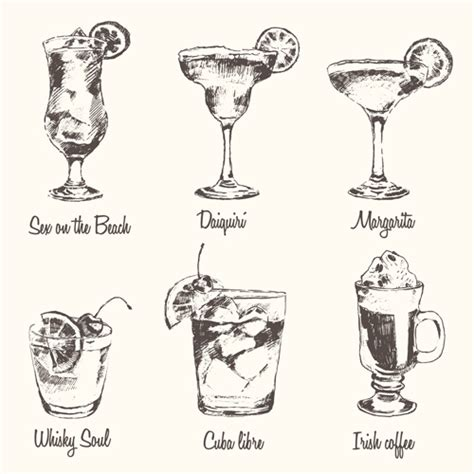 cocktail drawing famous cocktails vintage vectors material vector food