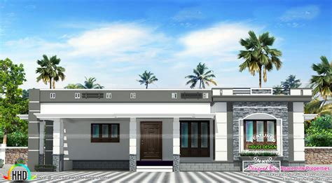 158 sq m flat roof single floor home kerala home design