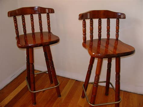 solid wood swivel pub bar stool chair set of 2 two dining