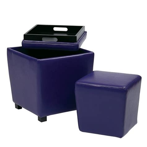 purple ottoman 2 piece vinyl ottoman set in purple met361v pb512