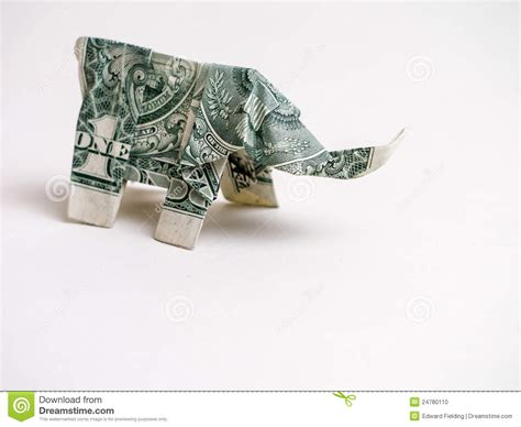 Elephant Origami Dollar - one dollar bill origami elephant stock photo image 24780110