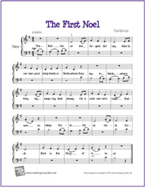printable lyrics the first noel the first no 235 l free beginner piano sheet music