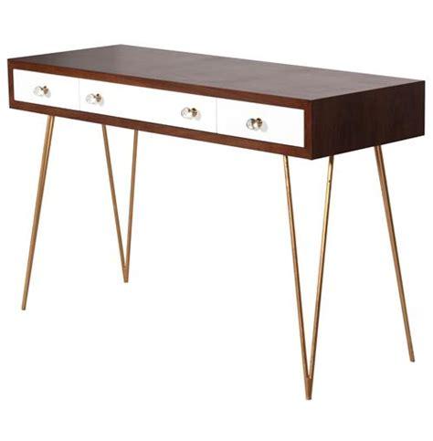 white console desk hairpin regency white walnut wood console desk