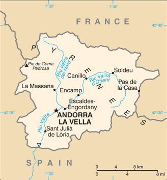 where is andorra in europe map map of andorra