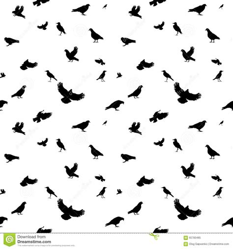 black and white bird pattern birds flying in air seamless pattern vector illustration