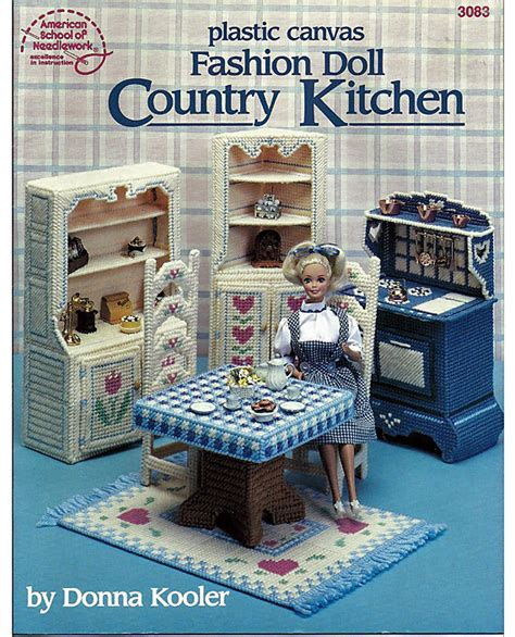 fashion doll kitchen fashion doll country kitchen in plastic canvas for