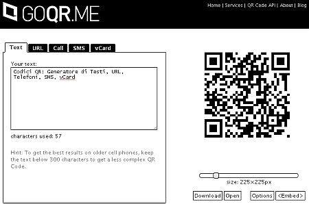 generatore di testo codici qr generatore di testi url telefoni sms vcard