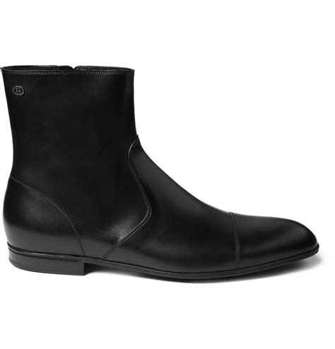 gucci chelsea boots gucci leather chelsea boots in black for lyst