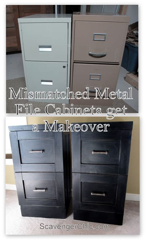 how to make aluminum cabinets mismatched file cabinets get a makeover scavenger chic