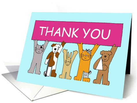 free printable thank you cards for veterinarians thank you to the veterinary staff cartoon animals in