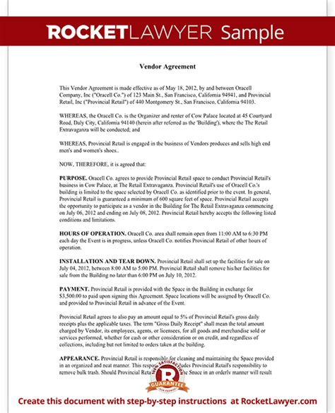 Vendor Agreement Letter Format Vendor Contract Template Create A Vendor Agreement With Sle