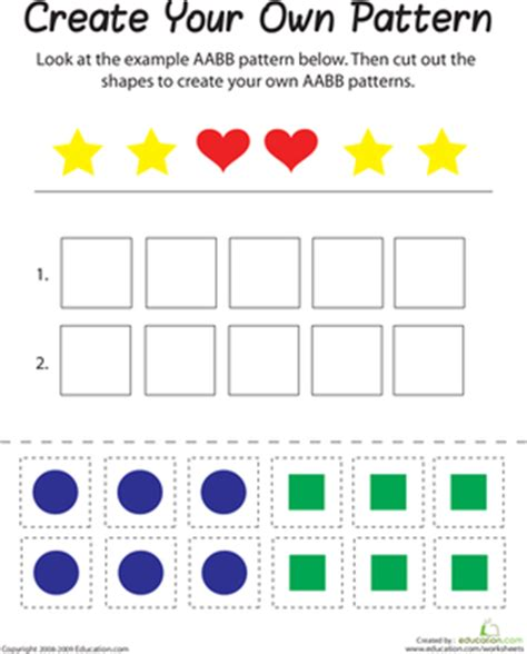 pattern math games for first grade aabb pattern worksheet education com