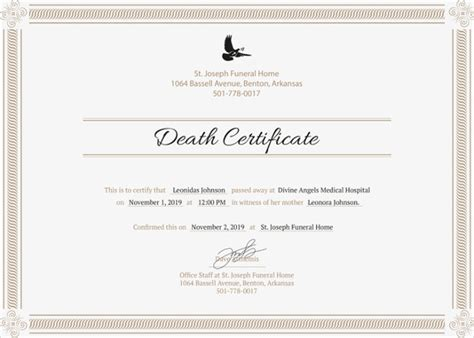 templates for certificates for mac sle death certificate templates 13 free word pdf