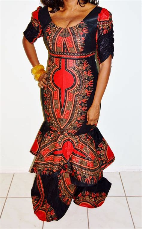 african print party dress best selling red dashiki print african formal dress