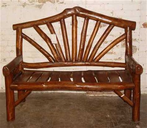 log benches with backs dark finish rustic log bench with arms arched back 44