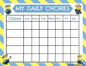 free printable chore chart templates for minion chore chart free printable
