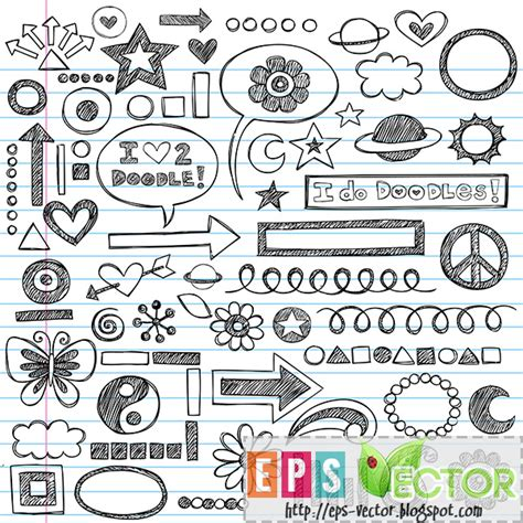 doodle ideas for school vector sketchy notebook doodles icon set eps vector