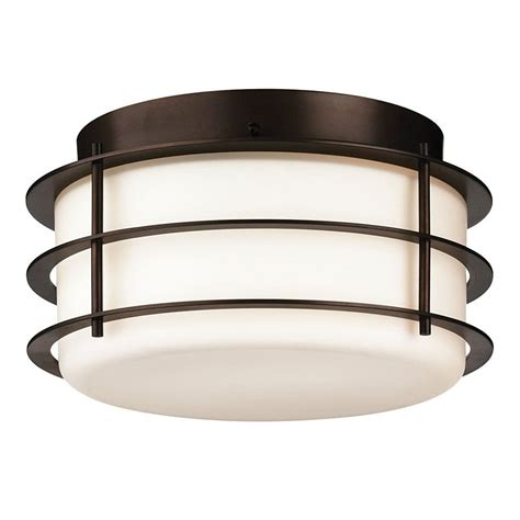 Lowes Outdoor Ceiling Lights Shop Philips 10 In W Bronze Outdoor Flush Mount Light At Lowes