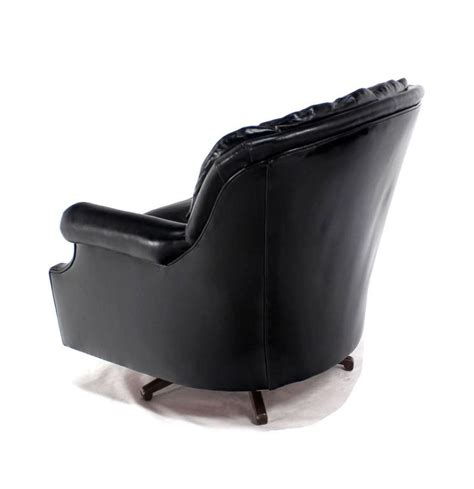 leather barrel swivel chairs pair of shiny black leather swivel barrel back lounge chairs for sale at 1stdibs