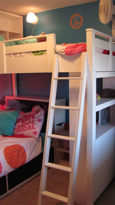 Bunk Bed With Shelf Headboard by White Loft Bed W Bookcase And Headboard Diy Projects