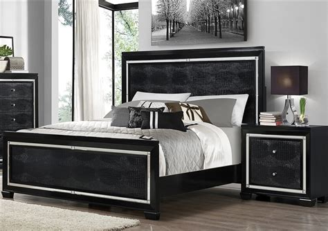 black bedroom suite aria 6 piece bedroom suite in black finish by crown mark