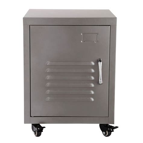 nachtschrank metall metal bedside table on castors in grey w 37cm loft