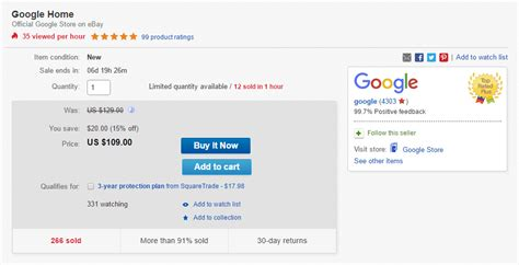 discount voucher on ebay deal google home going for 94 plus taxes with 15 off