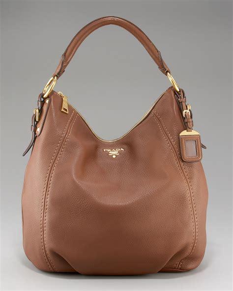 Prada Crispy Hobo Handbag by Prada Cervo Hobo In Black Lyst