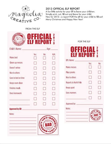 printable elf on the shelf progress report 100 best images about printables inaya on pinterest