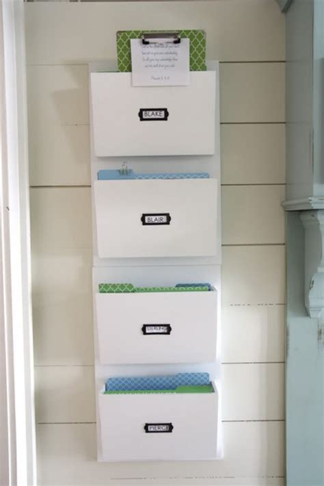 White Color Hanging Wall File Or Mail Organizer With 4