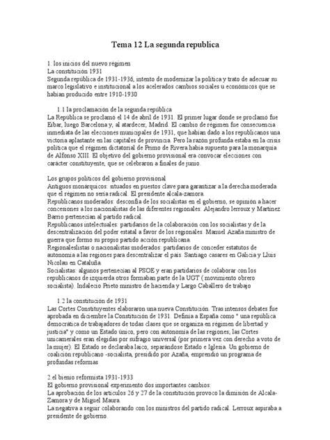 Resumen Tema 12 La Segunda Republica | Guerra civil