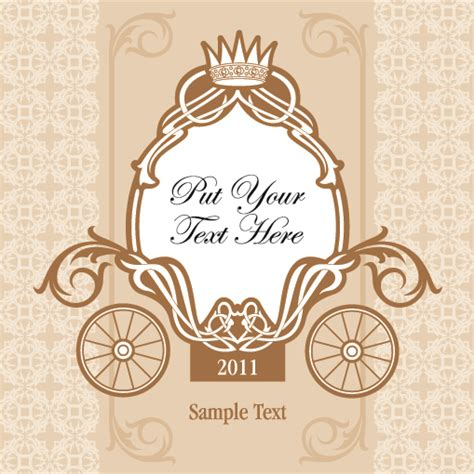 wedding invitation card design vector free download wedding invitation with carriage design vector 03 vector
