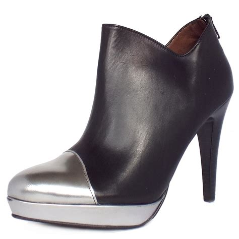 black leather high heel shoes toria high heel ankle boots in black metallic leather