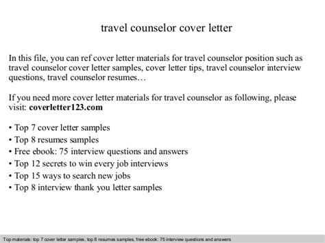 Thank You Letter For Counseling Travel Counselor Cover Letter