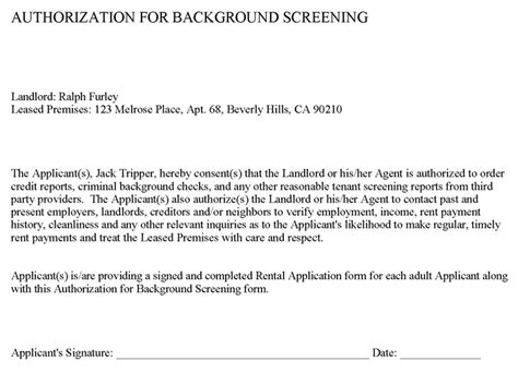 Background Check Authorization Form For Tenant Rental Lease Application Forms Ez Landlord Forms
