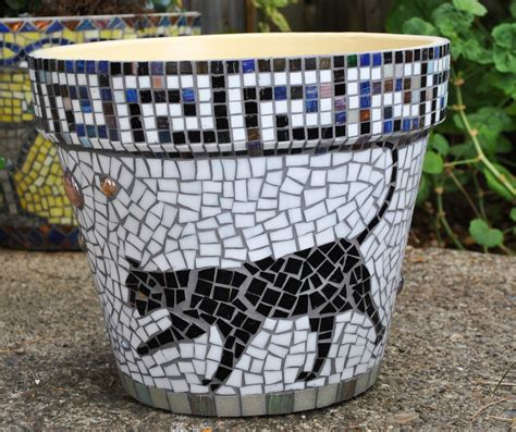 stained glass tile mosaic garden container black