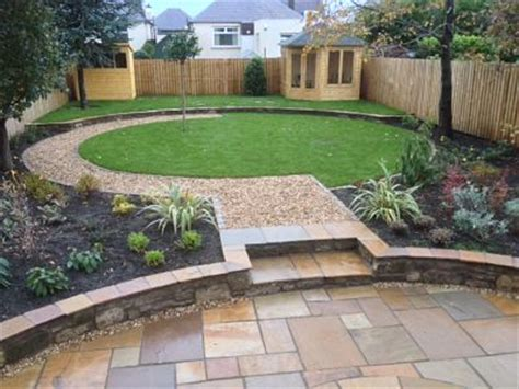 Sandstone Paving Circle And Circular Lawn Almond Landscapes Grass Garden Design 2