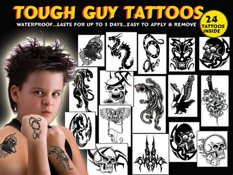 tough guy temporary tattoos